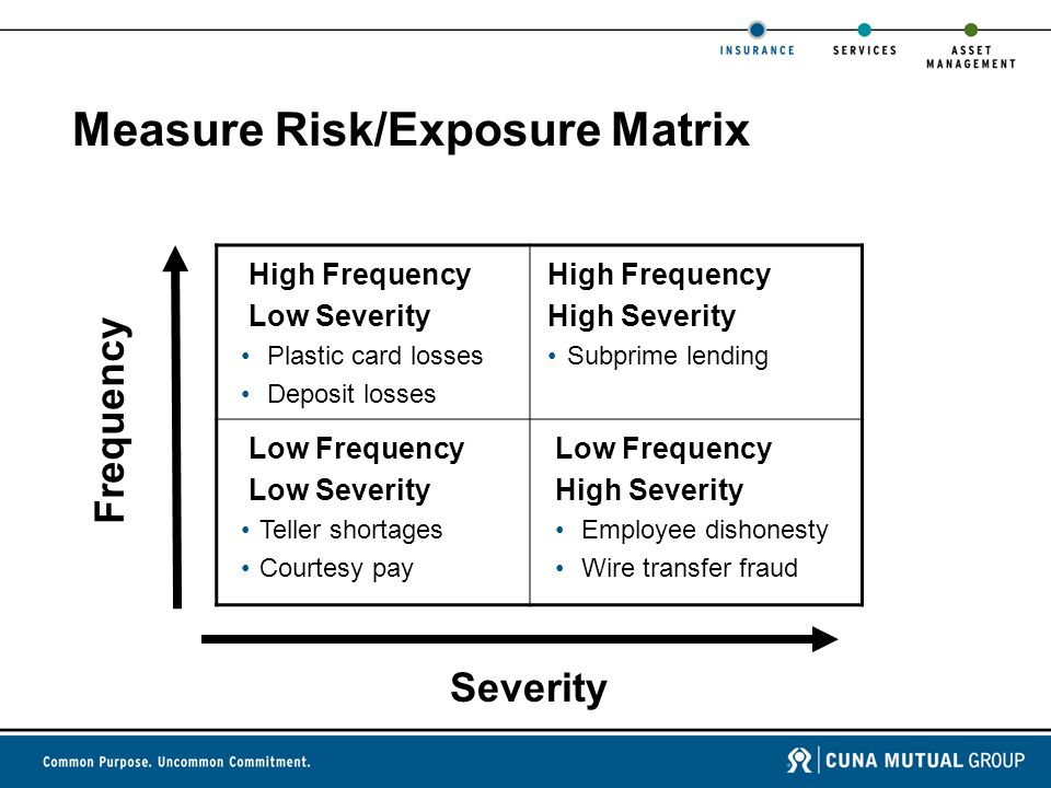 Measure Risk/Exposure Matrix High Frequency Low Severity Plastic card losses Deposit losses High Frequency High Severity Subprime lending Low Frequency Low Severity Teller shortages Courtesy pay Low Frequency High Severity Employee dishonesty Wire transfer fraud Severity Frequency