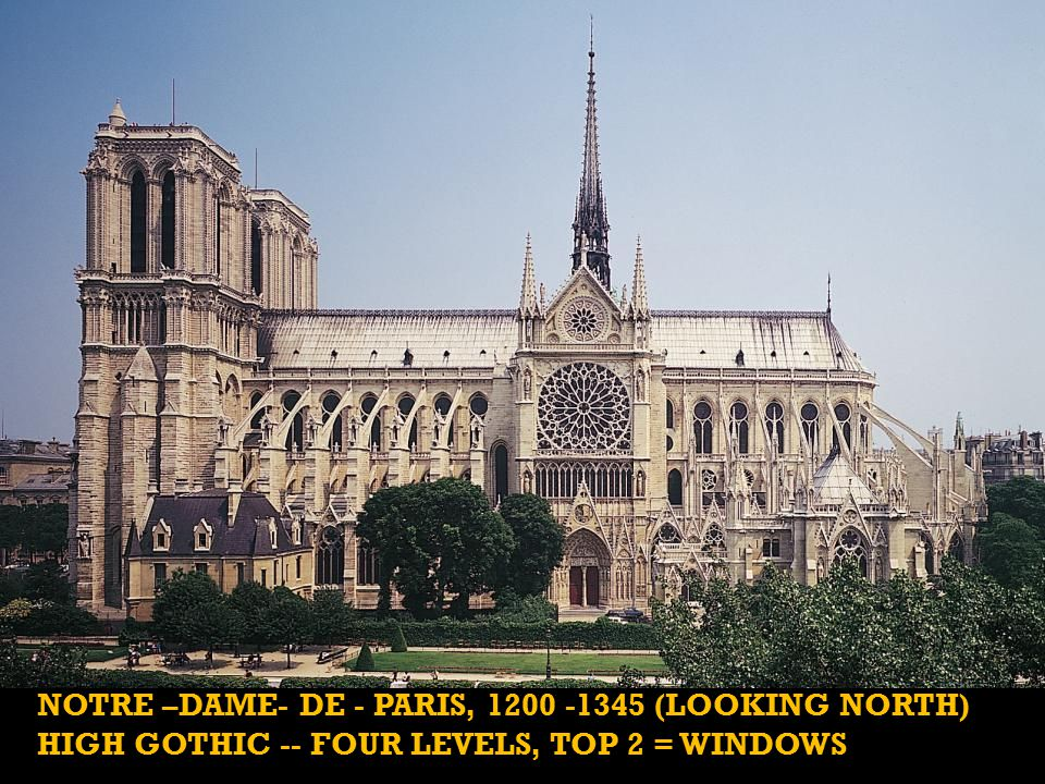 NOTRE –DAME- DE - PARIS, 1200 -1345 (LOOKING NORTH) HIGH GOTHIC -- FOUR LEVELS, TOP 2 = WINDOWS