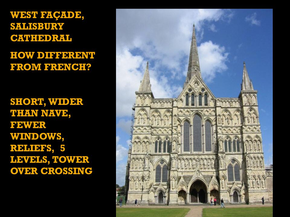 WEST FAÇADE, SALISBURY CATHEDRAL HOW DIFFERENT FROM FRENCH.