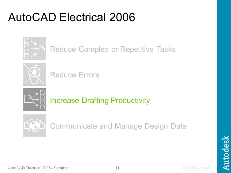 © 2005 Autodesk 11 AutoCAD Electrical 2006 - Seminar Increase Drafting Productivity Reduce Errors Communicate and Manage Design Data Reduce Complex or