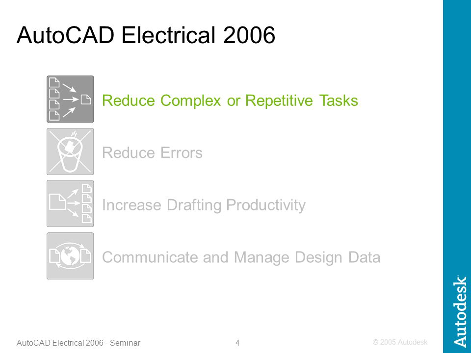 © 2005 Autodesk 4 AutoCAD Electrical 2006 - Seminar Increase Drafting Productivity Reduce Errors Communicate and Manage Design Data Reduce Complex or