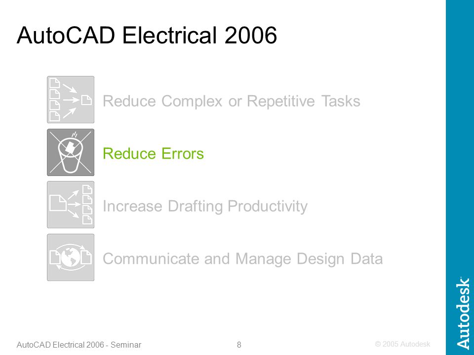 © 2005 Autodesk 8 AutoCAD Electrical 2006 - Seminar Increase Drafting Productivity Reduce Errors Communicate and Manage Design Data Reduce Complex or Repetitive Tasks AutoCAD Electrical 2006