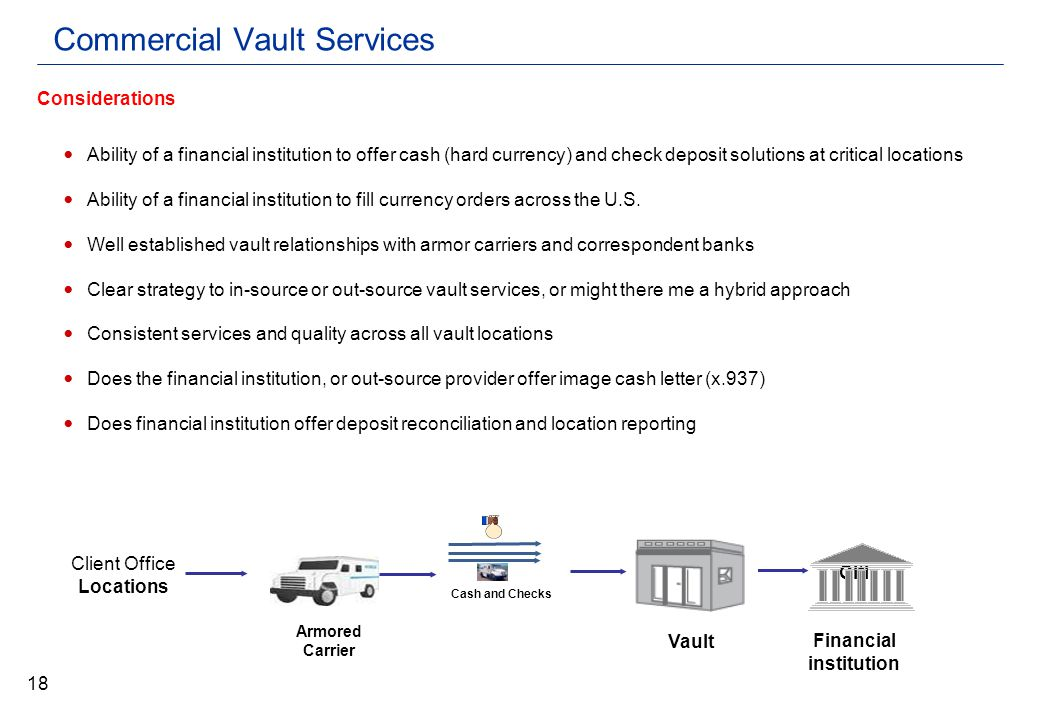 Commercial Vault Services Ability of a financial institution to offer cash (hard currency) and check deposit solutions at critical locations Ability of a financial institution to fill currency orders across the U.S.