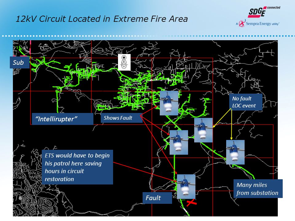 """11 1111 Many miles from substation Fault ETS would have to begin his patrol here saving hours in circuit restoration No fault LOC event Shows Fault """"I"""