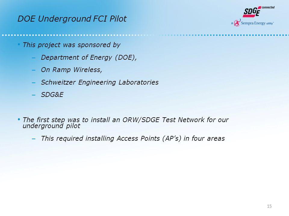 DOE Underground FCI Pilot This project was sponsored by – Department of Energy (DOE), – On Ramp Wireless, – Schweitzer Engineering Laboratories – SDG&