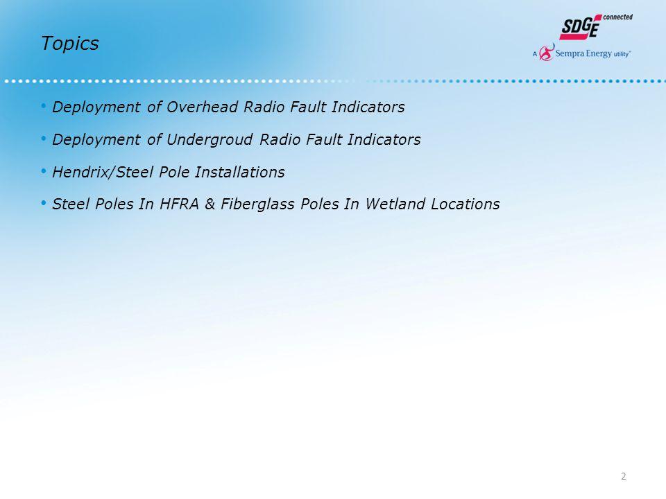Topics Deployment of Overhead Radio Fault Indicators Deployment of Undergroud Radio Fault Indicators Hendrix/Steel Pole Installations Steel Poles In HFRA & Fiberglass Poles In Wetland Locations 2