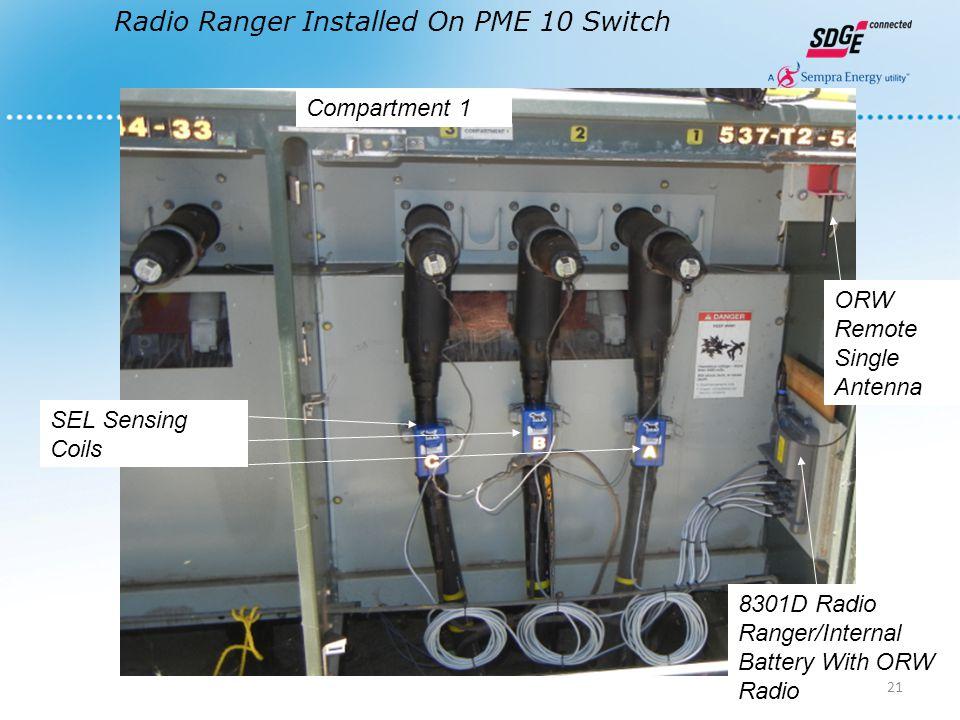 Radio Ranger Installed On PME 10 Switch SEL Sensing Coils 8301D Radio Ranger/Internal Battery With ORW Radio ORW Remote Single Antenna Compartment 1 21