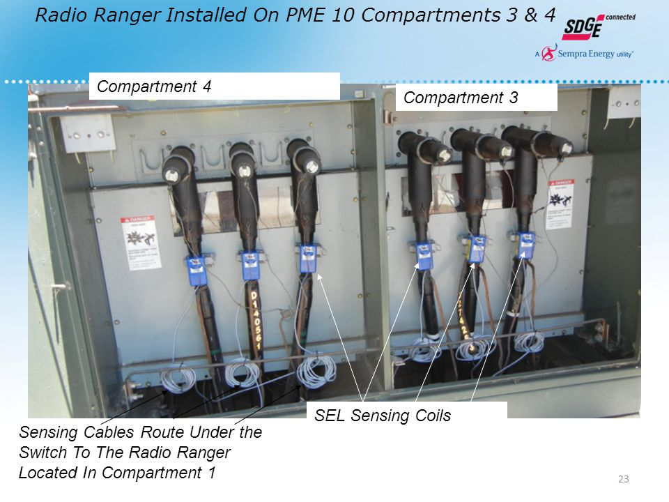 Radio Ranger Installed On PME 10 Compartments 3 & 4 Compartment 4 Compartment 3 SEL Sensing Coils Sensing Cables Route Under the Switch To The Radio R