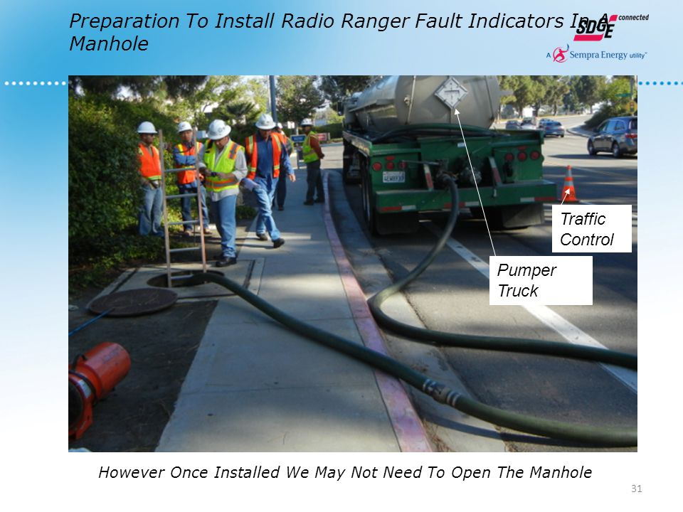 Preparation To Install Radio Ranger Fault Indicators In A Manhole Pumper Truck Traffic Control However Once Installed We May Not Need To Open The Manh