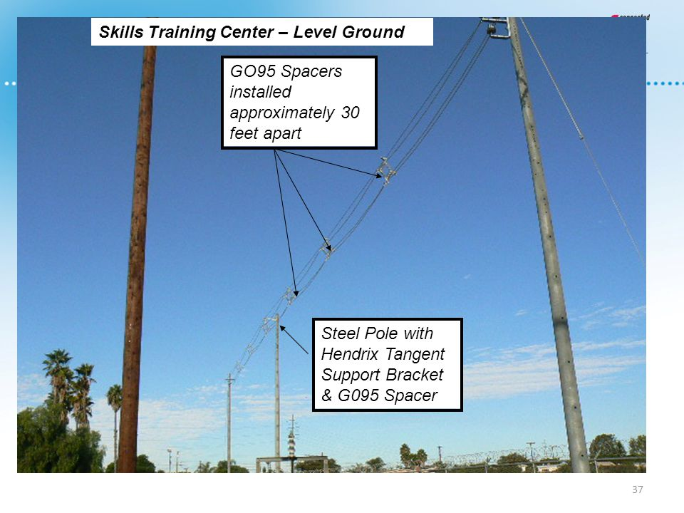 37 Steel Pole with Hendrix Tangent Support Bracket & G095 Spacer GO95 Spacers installed approximately 30 feet apart Skills Training Center – Level Gro