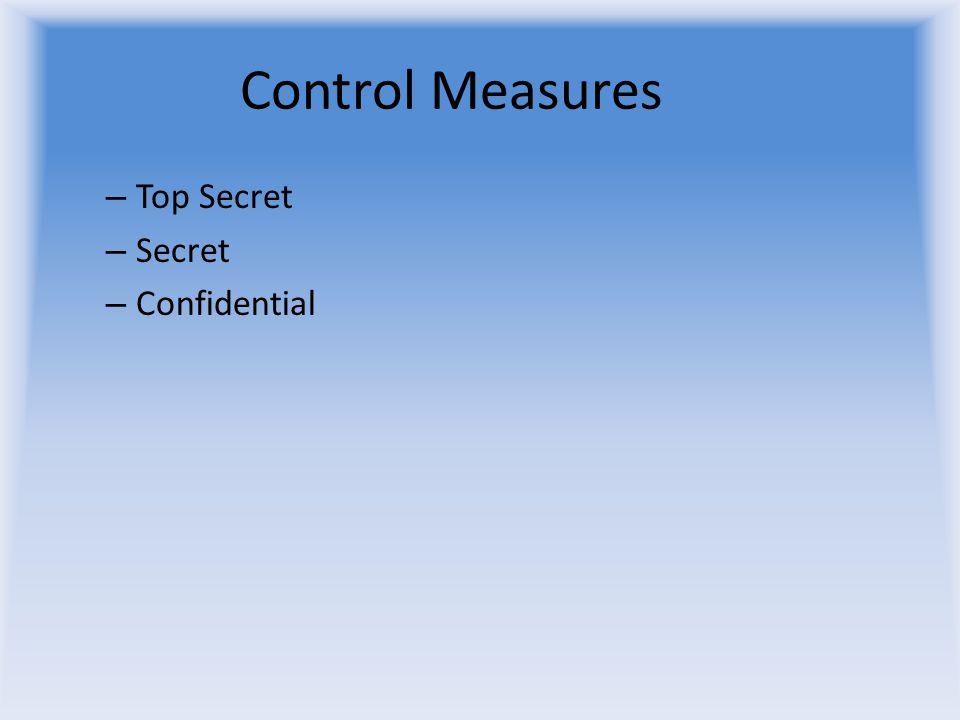 Control Measures – Top Secret – Secret – Confidential