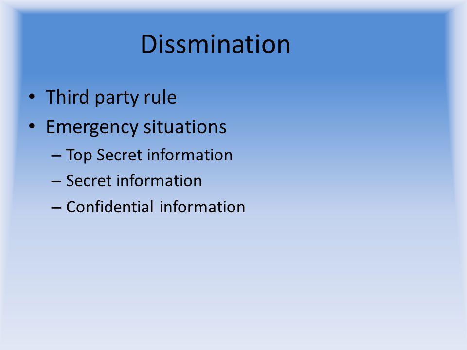 Dissmination Third party rule Emergency situations – Top Secret information – Secret information – Confidential information