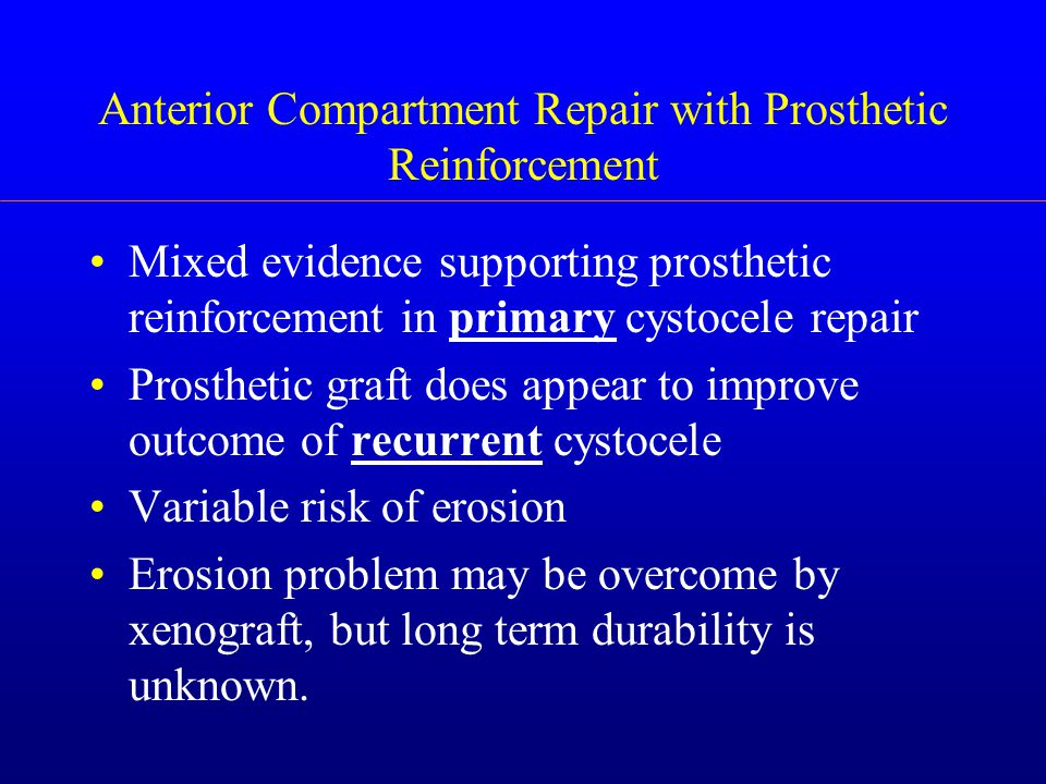Anterior Compartment Repair with Prosthetic Reinforcement Mixed evidence supporting prosthetic reinforcement in primary cystocele repair Prosthetic graft does appear to improve outcome of recurrent cystocele Variable risk of erosion Erosion problem may be overcome by xenograft, but long term durability is unknown.