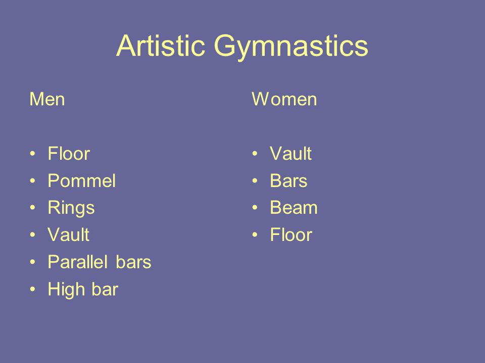 Artistic Gymnastics Men Floor Pommel Rings Vault Parallel bars High bar Women Vault Bars Beam Floor