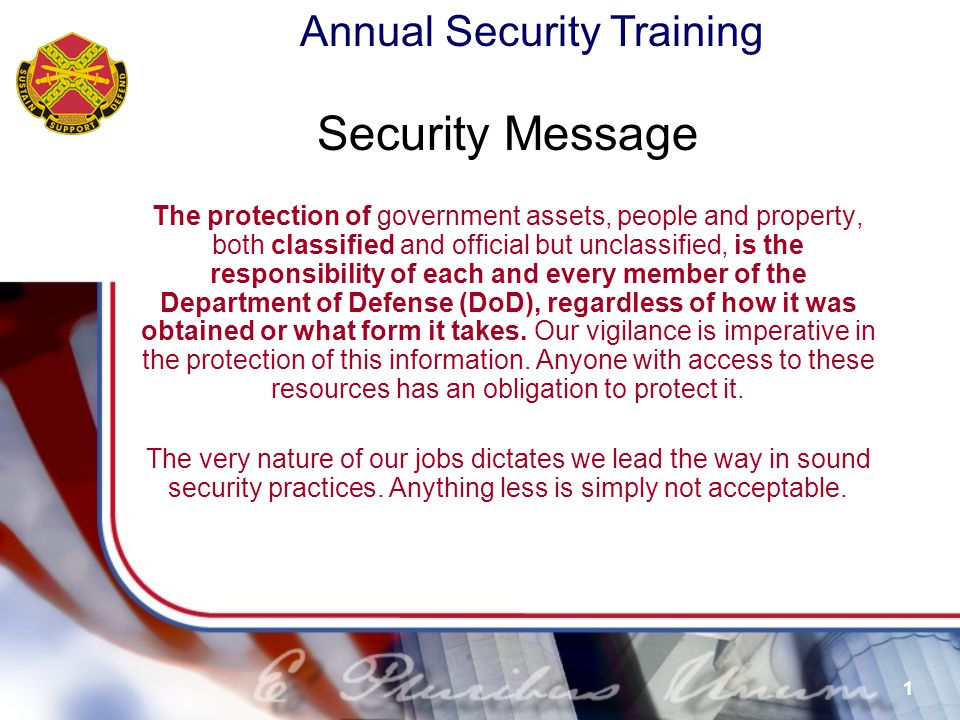 Annual Security Training 62 Title 50, USC, Sec.