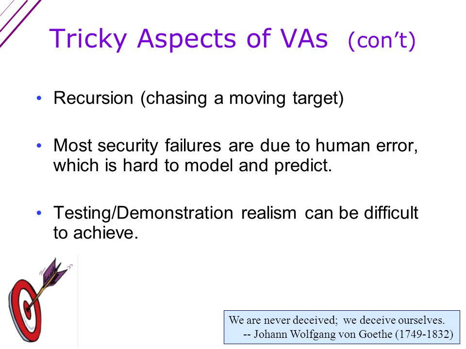 Tricky Aspects of Vulnerability Assessments (VAs) No meaningful standards or underlying theory Defeats are a matter of degree & probability No clear endpoint Wishful thinking is hard to avoid.