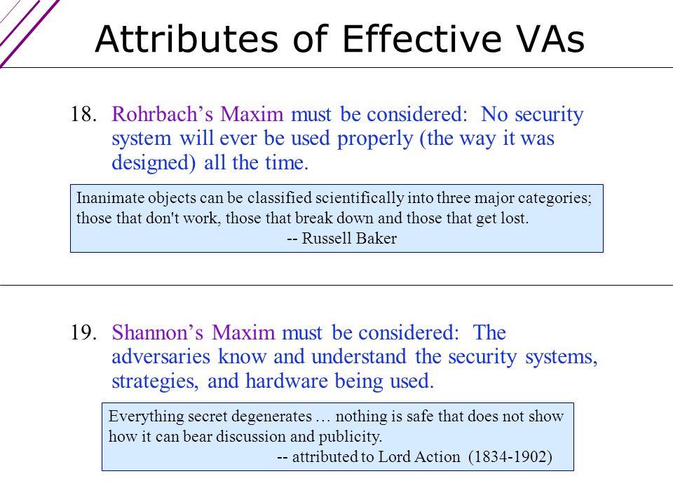 Attributes of Effective VAs 17.