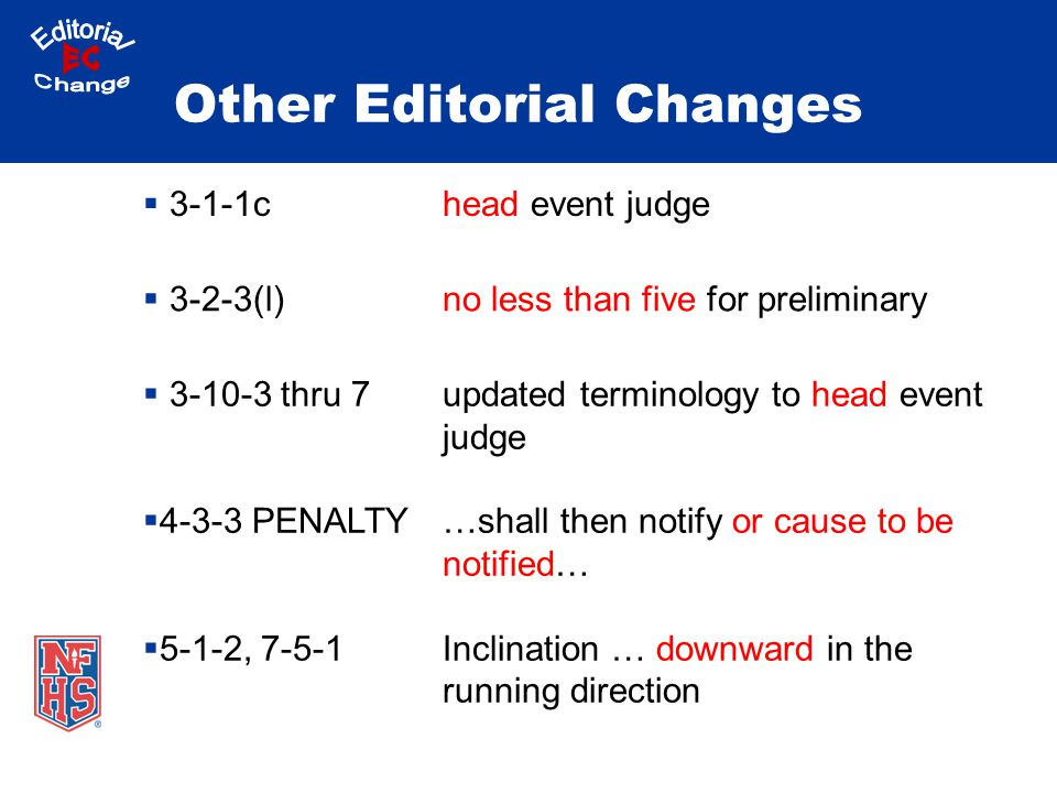 Other Editorial Changes  3-1-1chead event judge  3-2-3(l)no less than five for preliminary  3-10-3 thru 7  4-3-3 PENALTY  5-1-2, 7-5-1 updated terminology to head event judge …shall then notify or cause to be notified… Inclination … downward in the running direction