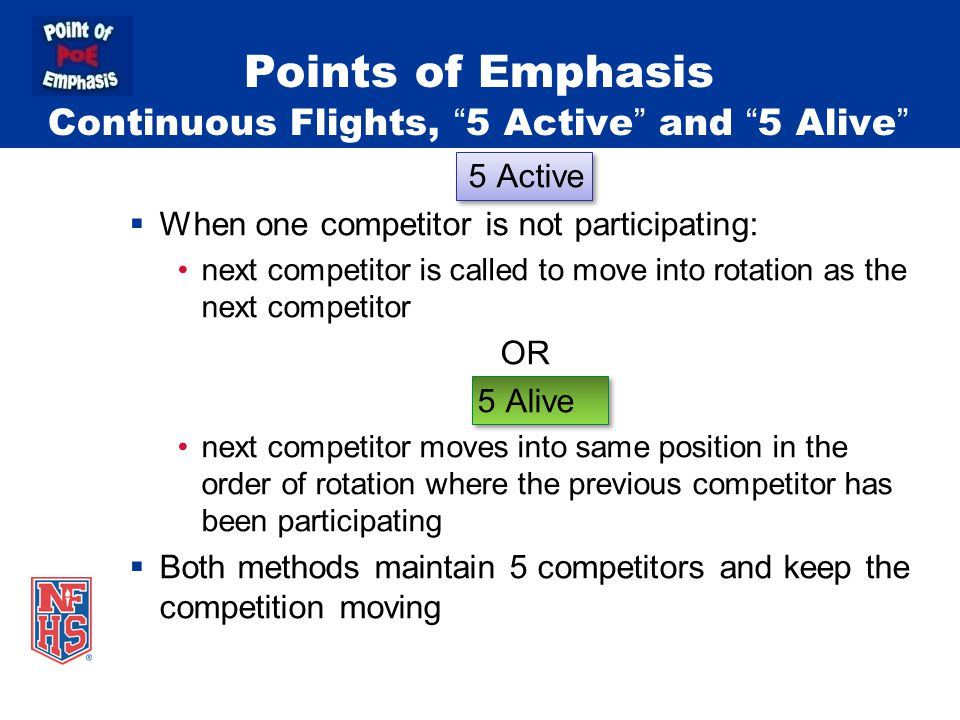 "Points of Emphasis Continuous Flights, ""5 Active"" and ""5 Alive"" 5 Active  When one competitor is not participating: next competitor is called to move"