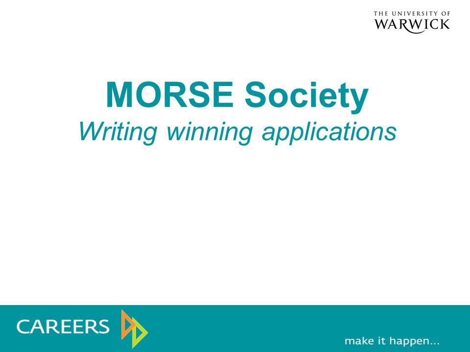 MORSE Society Writing winning applications