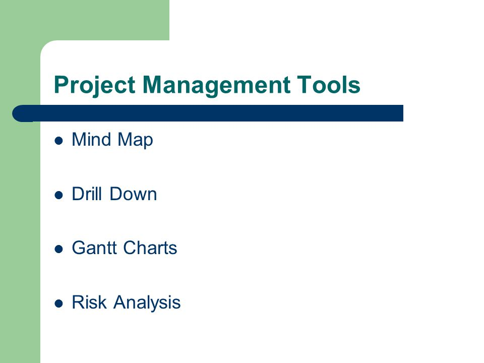 Project Management Tools Mind Map Drill Down Gantt Charts Risk Analysis