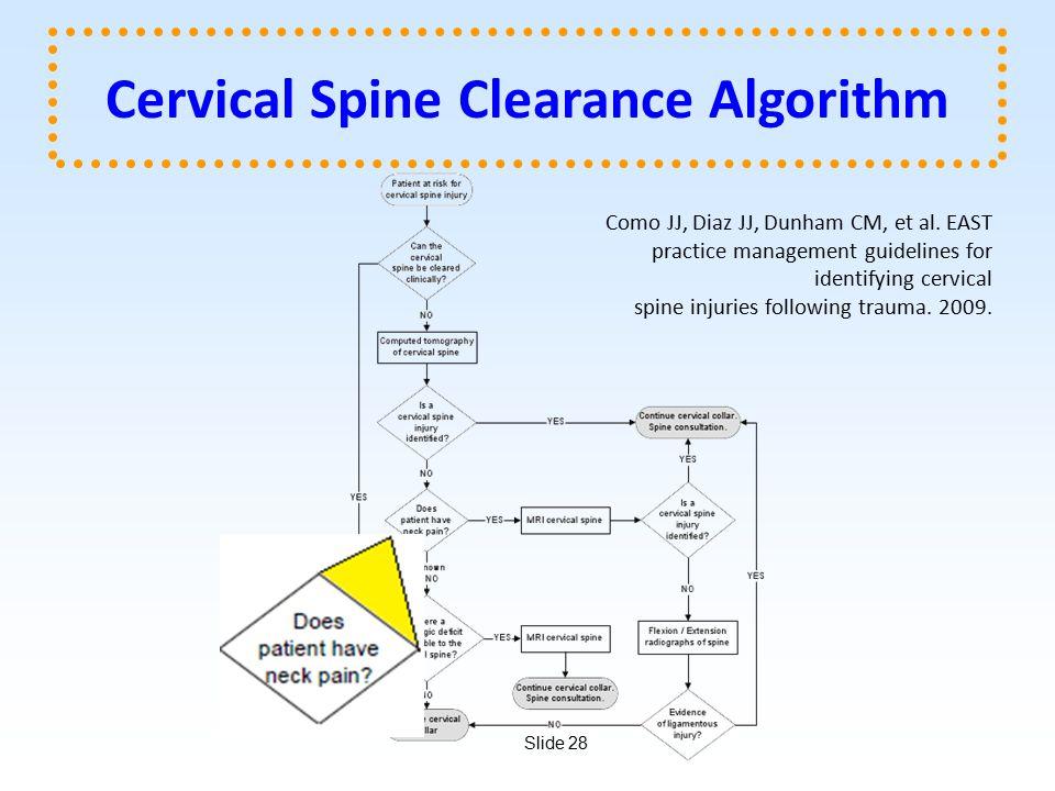 Slide 28 Cervical Spine Clearance Algorithm Como JJ, Diaz JJ, Dunham CM, et al.