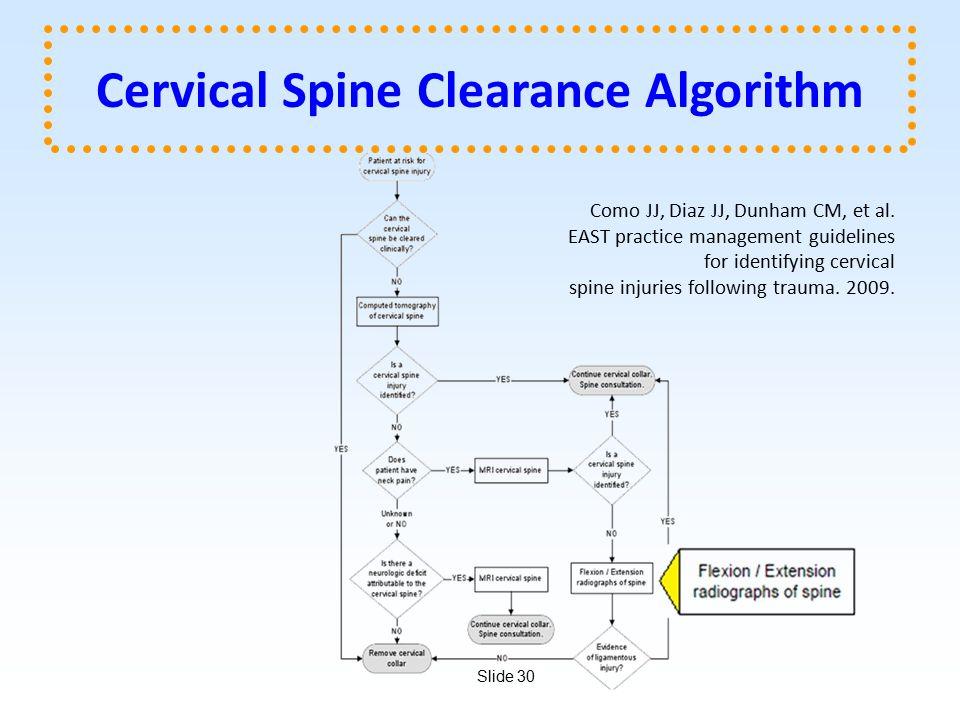 Slide 30 Cervical Spine Clearance Algorithm Como JJ, Diaz JJ, Dunham CM, et al.