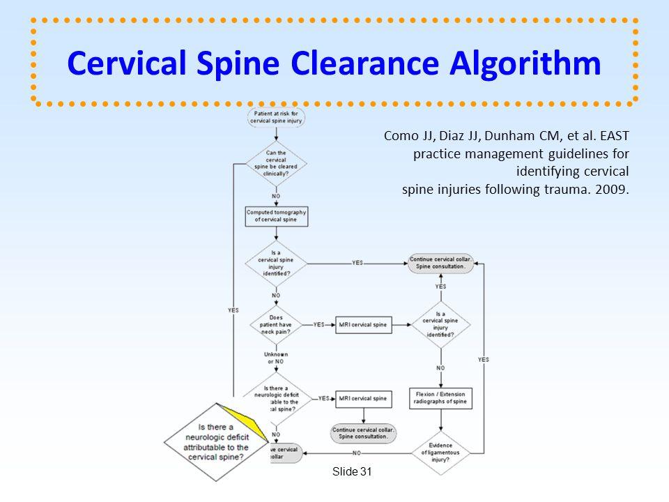 Slide 31 Cervical Spine Clearance Algorithm Como JJ, Diaz JJ, Dunham CM, et al.
