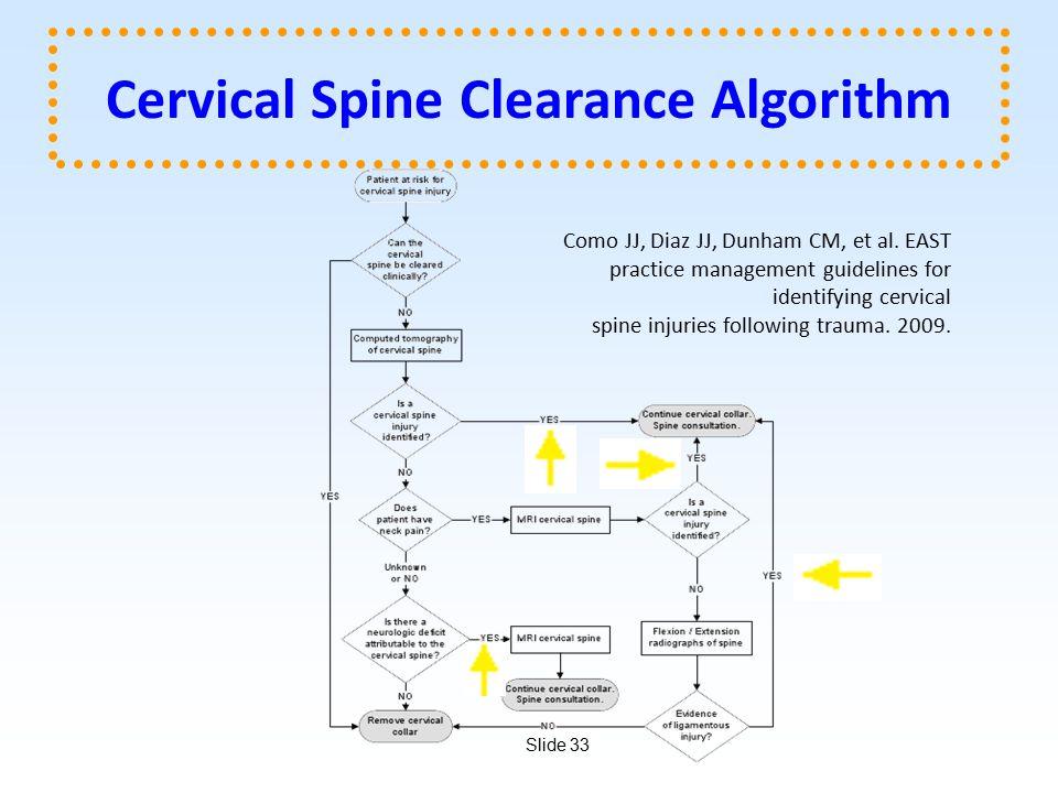 Slide 33 Cervical Spine Clearance Algorithm Como JJ, Diaz JJ, Dunham CM, et al.