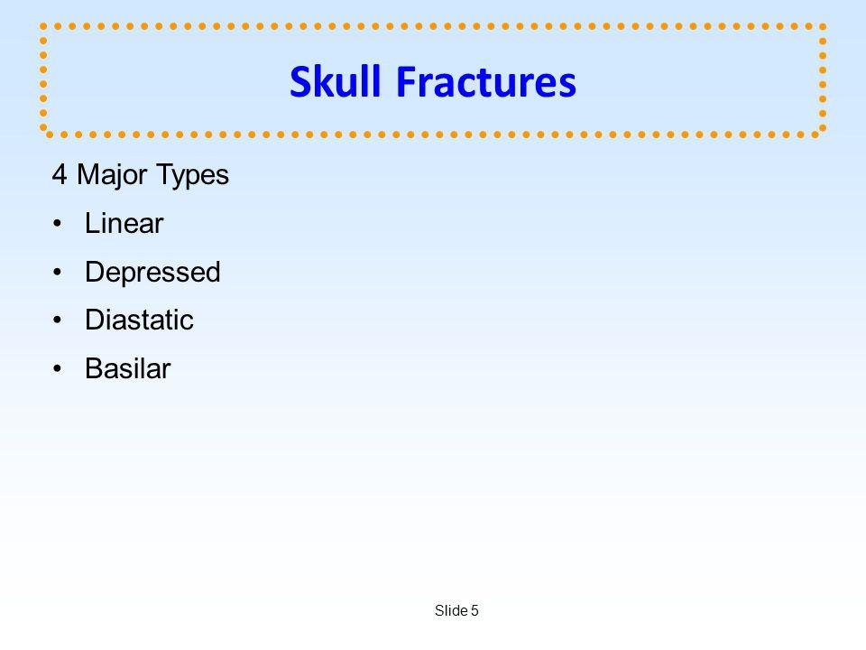 Slide 5 Skull Fractures 4 Major Types Linear Depressed Diastatic Basilar