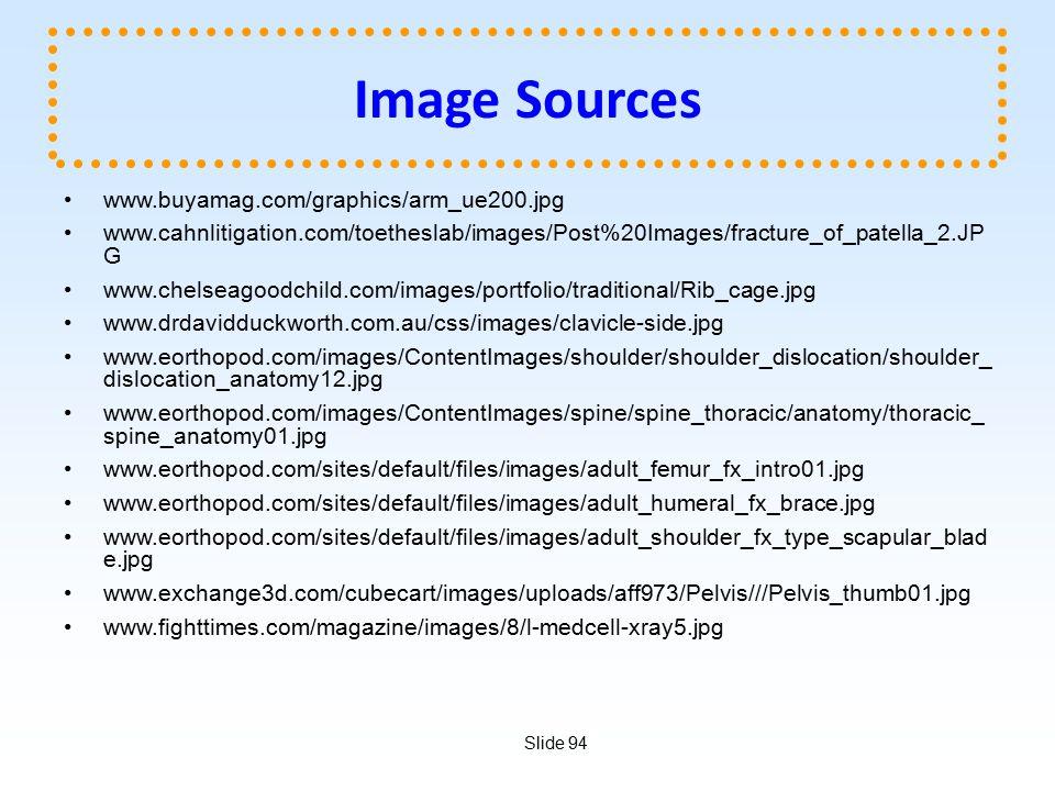 Slide 94 Image Sources www.buyamag.com/graphics/arm_ue200.jpg www.cahnlitigation.com/toetheslab/images/Post%20Images/fracture_of_patella_2.JP G www.chelseagoodchild.com/images/portfolio/traditional/Rib_cage.jpg www.drdavidduckworth.com.au/css/images/clavicle-side.jpg www.eorthopod.com/images/ContentImages/shoulder/shoulder_dislocation/shoulder_ dislocation_anatomy12.jpg www.eorthopod.com/images/ContentImages/spine/spine_thoracic/anatomy/thoracic_ spine_anatomy01.jpg www.eorthopod.com/sites/default/files/images/adult_femur_fx_intro01.jpg www.eorthopod.com/sites/default/files/images/adult_humeral_fx_brace.jpg www.eorthopod.com/sites/default/files/images/adult_shoulder_fx_type_scapular_blad e.jpg www.exchange3d.com/cubecart/images/uploads/aff973/Pelvis///Pelvis_thumb01.jpg www.fighttimes.com/magazine/images/8/l-medcell-xray5.jpg