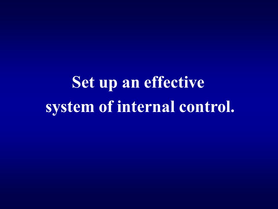 Set up an effective system of internal control.