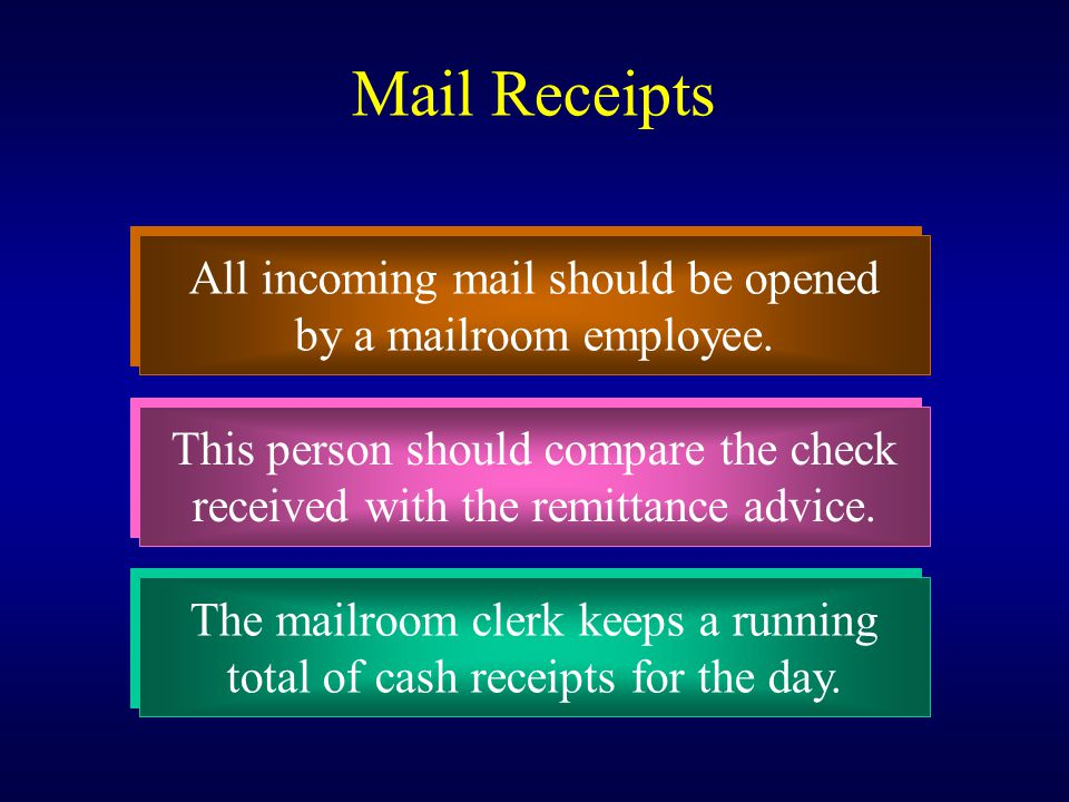 Mail Receipts All incoming mail should be opened by a mailroom employee. All incoming mail should be opened by a mailroom employee. This person should