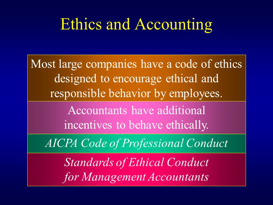 Ethics and Accounting Most large companies have a code of ethics designed to encourage ethical and responsible behavior by employees. Accountants have
