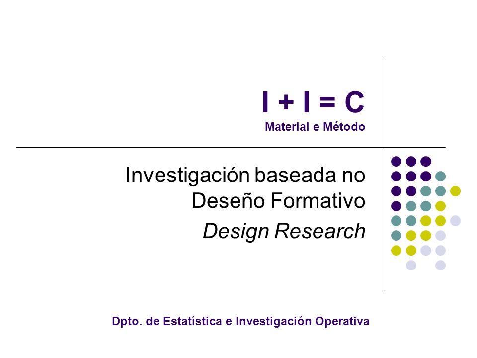 I + I = C Material e Método Investigación baseada no Deseño Formativo Design Research Dpto.