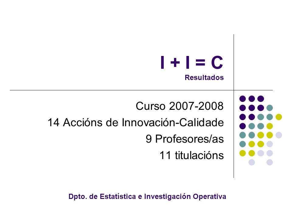 I + I = C Resultados Curso 2007-2008 14 Accións de Innovación-Calidade 9 Profesores/as 11 titulacións Dpto.