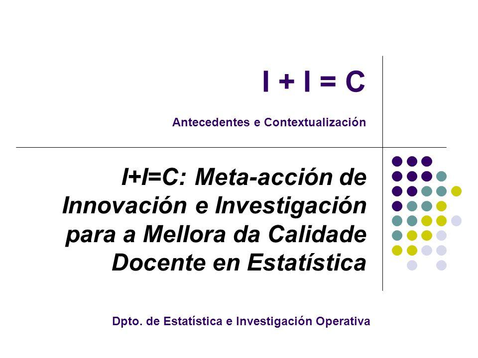 I + I = C Antecedentes e Contextualización I+I=C: Meta-acción de Innovación e Investigación para a Mellora da Calidade Docente en Estatística Dpto.