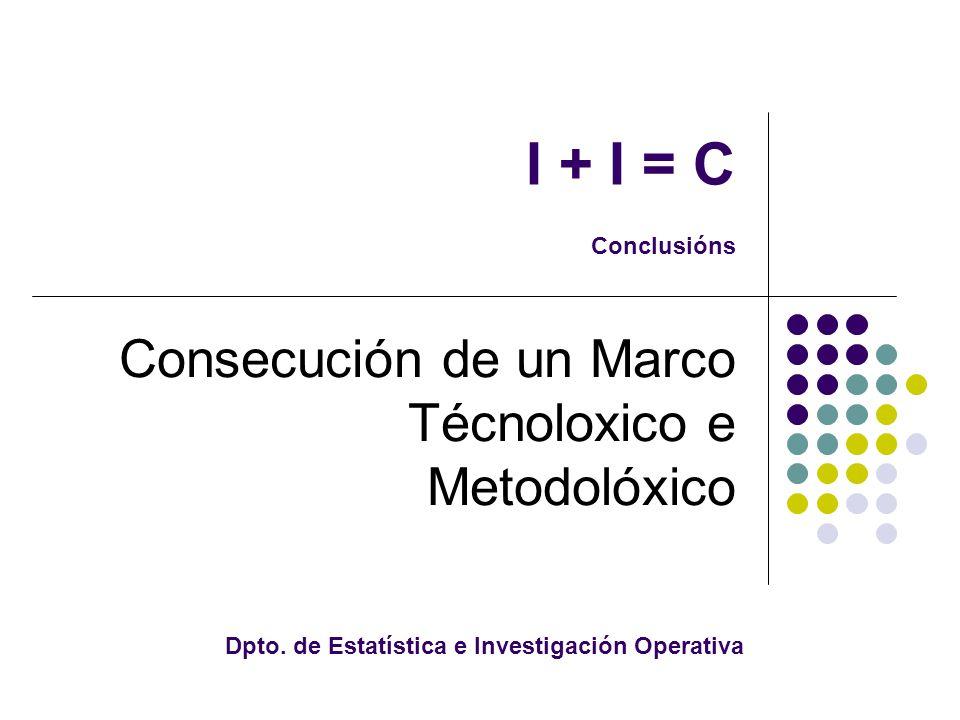 I + I = C Conclusións Consecución de un Marco Técnoloxico e Metodolóxico Dpto.