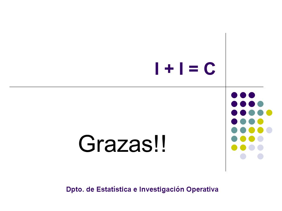 I + I = C Grazas!! Dpto. de Estatística e Investigación Operativa