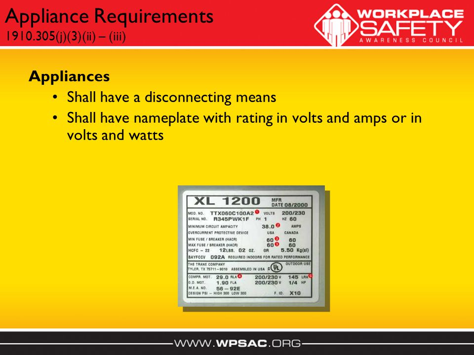 Appliances Shall have a disconnecting means Shall have nameplate with rating in volts and amps or in volts and watts Appliance Requirements 1910.305(j)(3)(ii) – (iii)