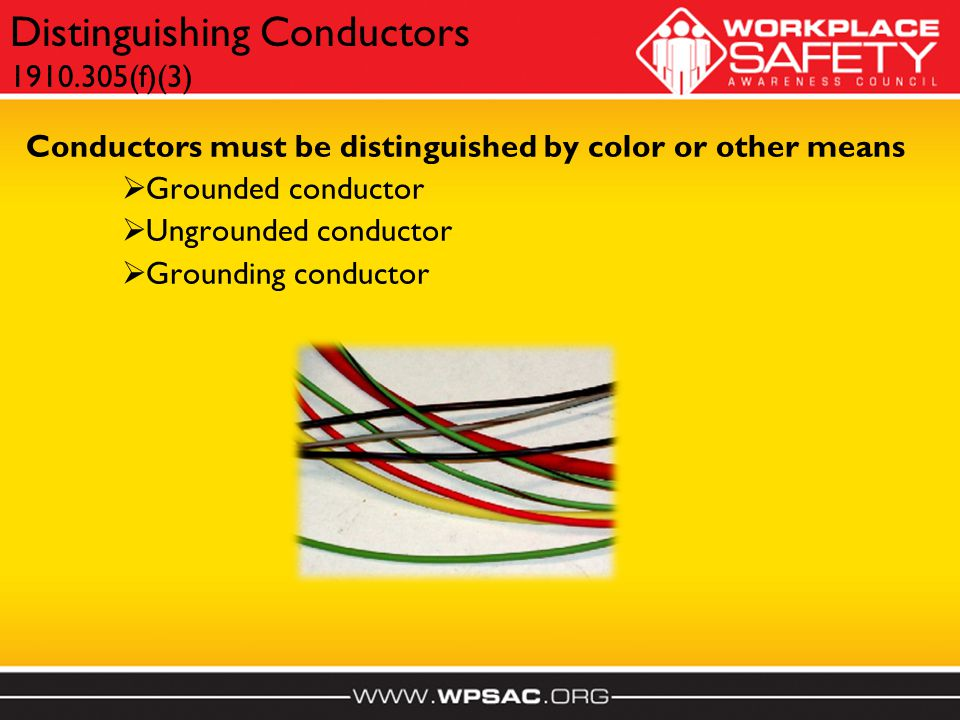 Conductors must be distinguished by color or other means  Grounded conductor  Ungrounded conductor  Grounding conductor Distinguishing Conductors 1910.305(f)(3)