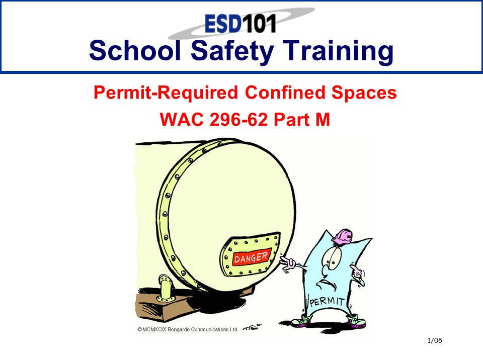 1/05 School Safety Training Permit-Required Confined Spaces WAC 296-62 Part M