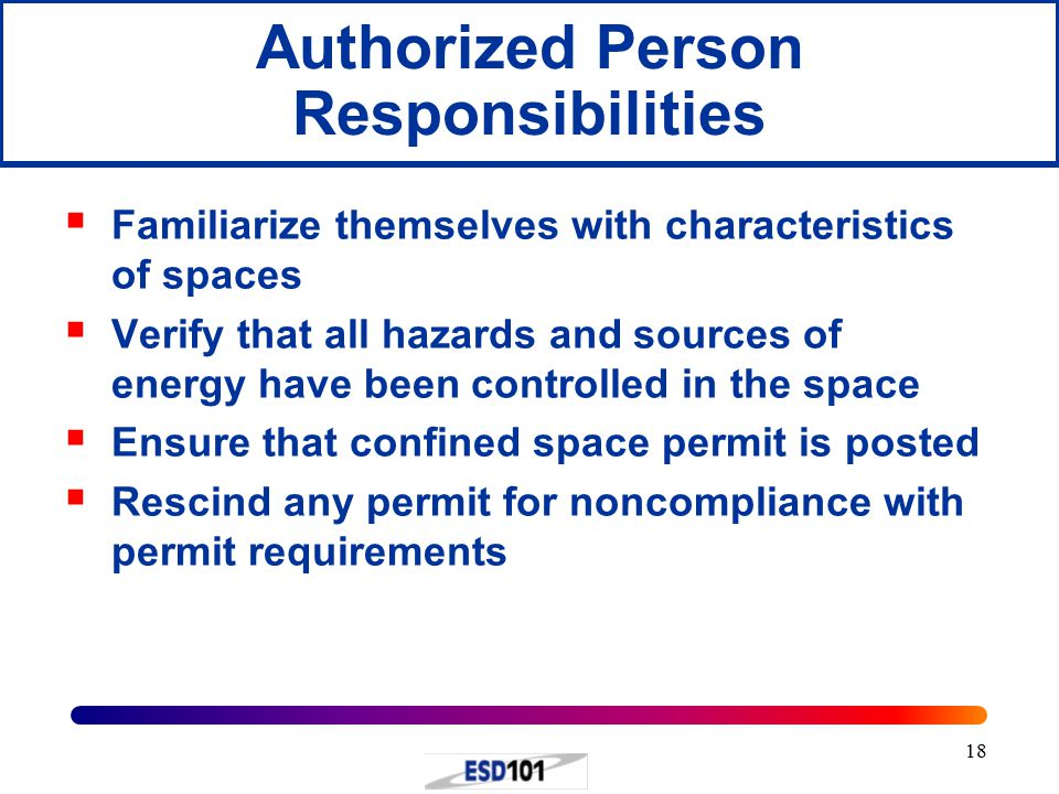 18 Authorized Person Responsibilities  Familiarize themselves with characteristics of spaces  Verify that all hazards and sources of energy have been controlled in the space  Ensure that confined space permit is posted  Rescind any permit for noncompliance with permit requirements