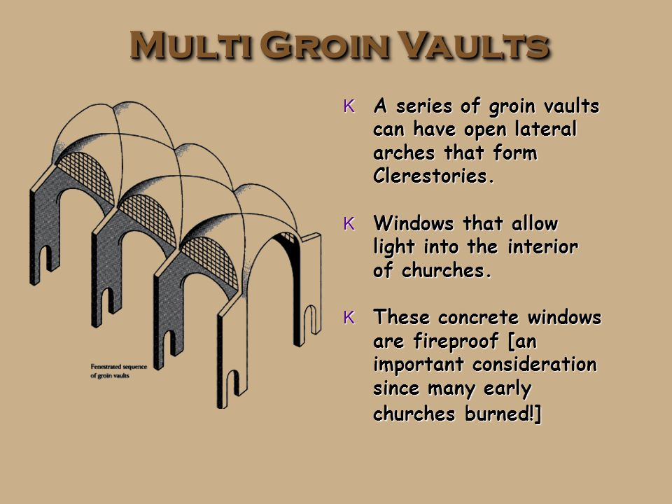 Groin Vault K Also called a cross vault. K Needs less buttressing.