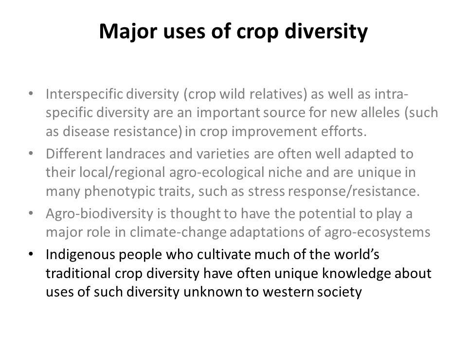 Major uses of crop diversity Interspecific diversity (crop wild relatives) as well as intra- specific diversity are an important source for new allele