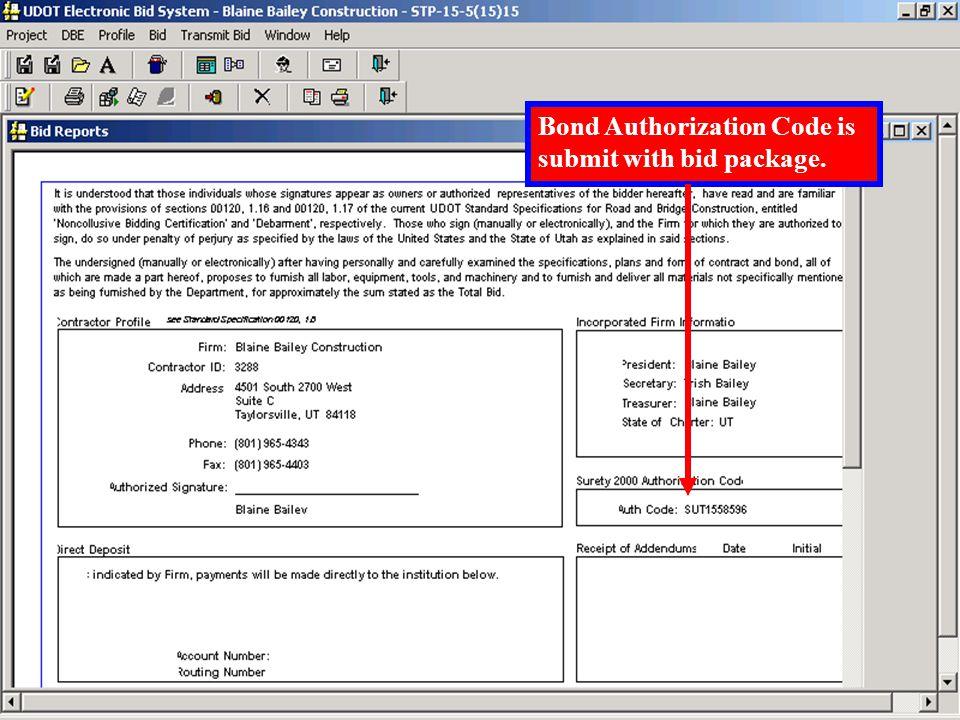 Enter 'Bond Authorization Code'