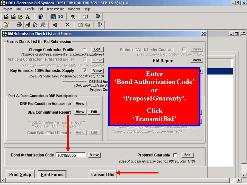 Click Transmit Bid to submit bid to UserTrust Vault.