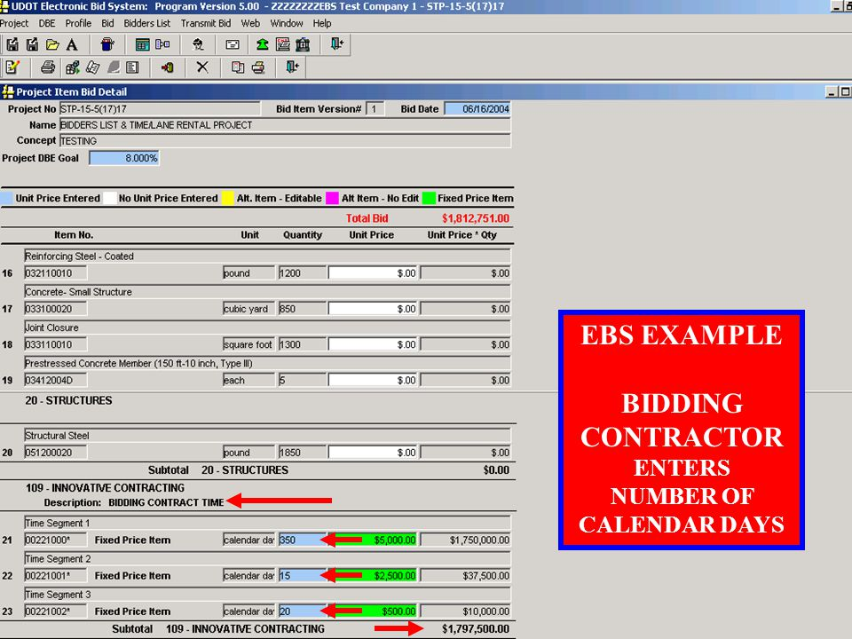 MULTIPLE TIME SEGMENTS TABLE EXAMPLE SPECIAL PROVISION FOR BIDDING CONTRACT TIME .