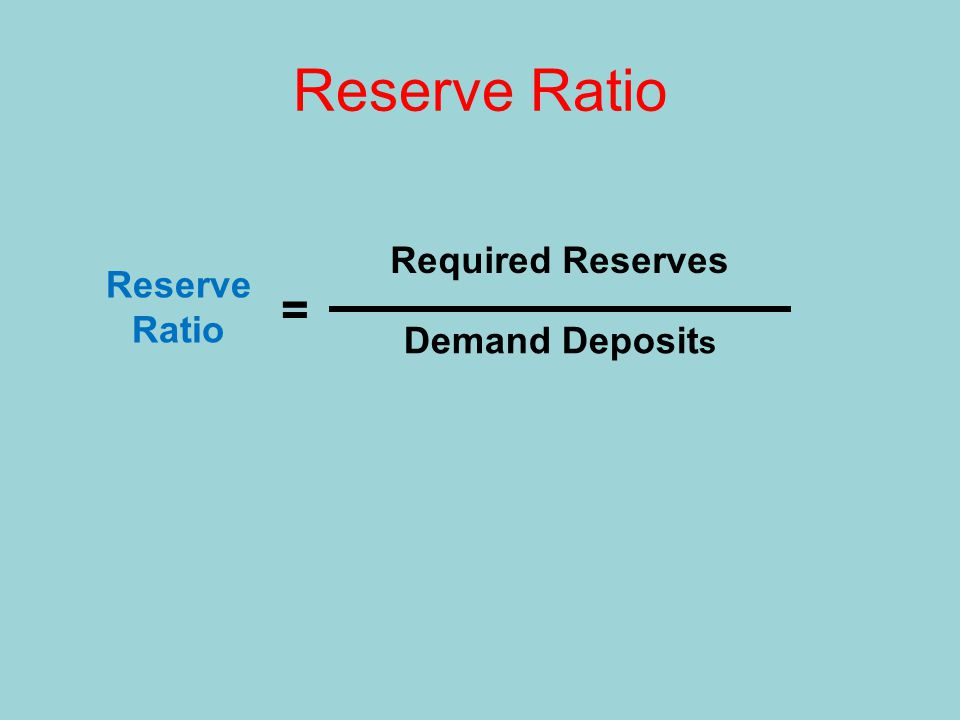 Reserve Ratio Reserve Ratio = Required Reserves Demand Deposit s