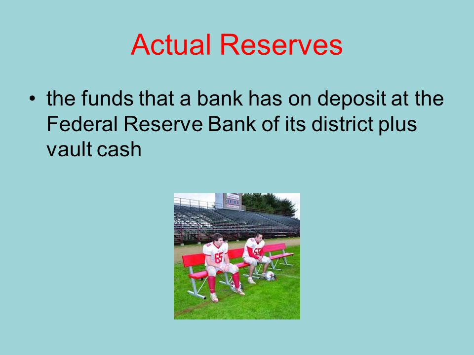 Actual Reserves the funds that a bank has on deposit at the Federal Reserve Bank of its district plus vault cash